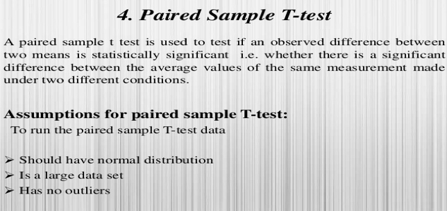 Definition of a paired sample t-test