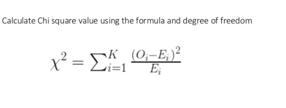 Formula for finding the Chi-Square Value