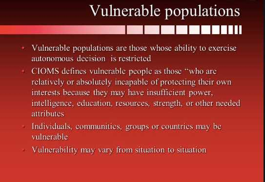 The key to understanding deferential vulnerability is by first understanding the meaning of vulnerable subjects