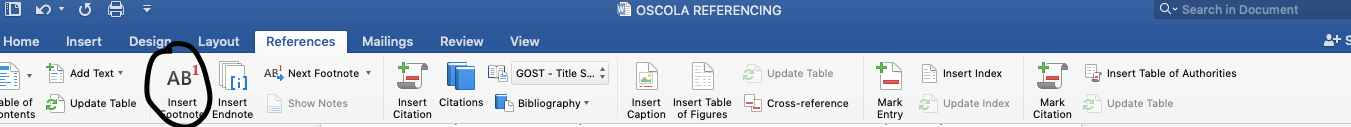 inserting a footnote in oscola referencing